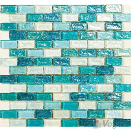 Turquoise Tile turquoise subway glazed iridium glass mosaic tile vg-rdp92