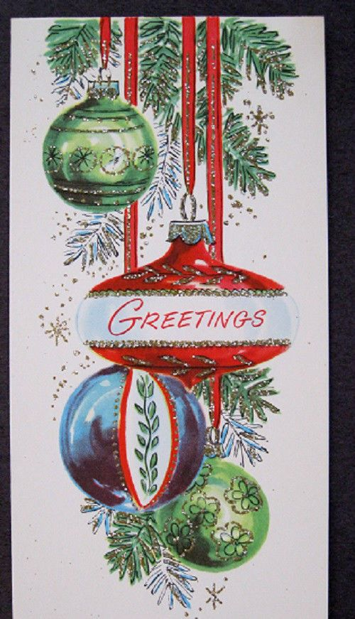 Vintage christmas card ornaments glitter retro greetings card vintage christmas card ornaments glitter retro greetings card m4hsunfo