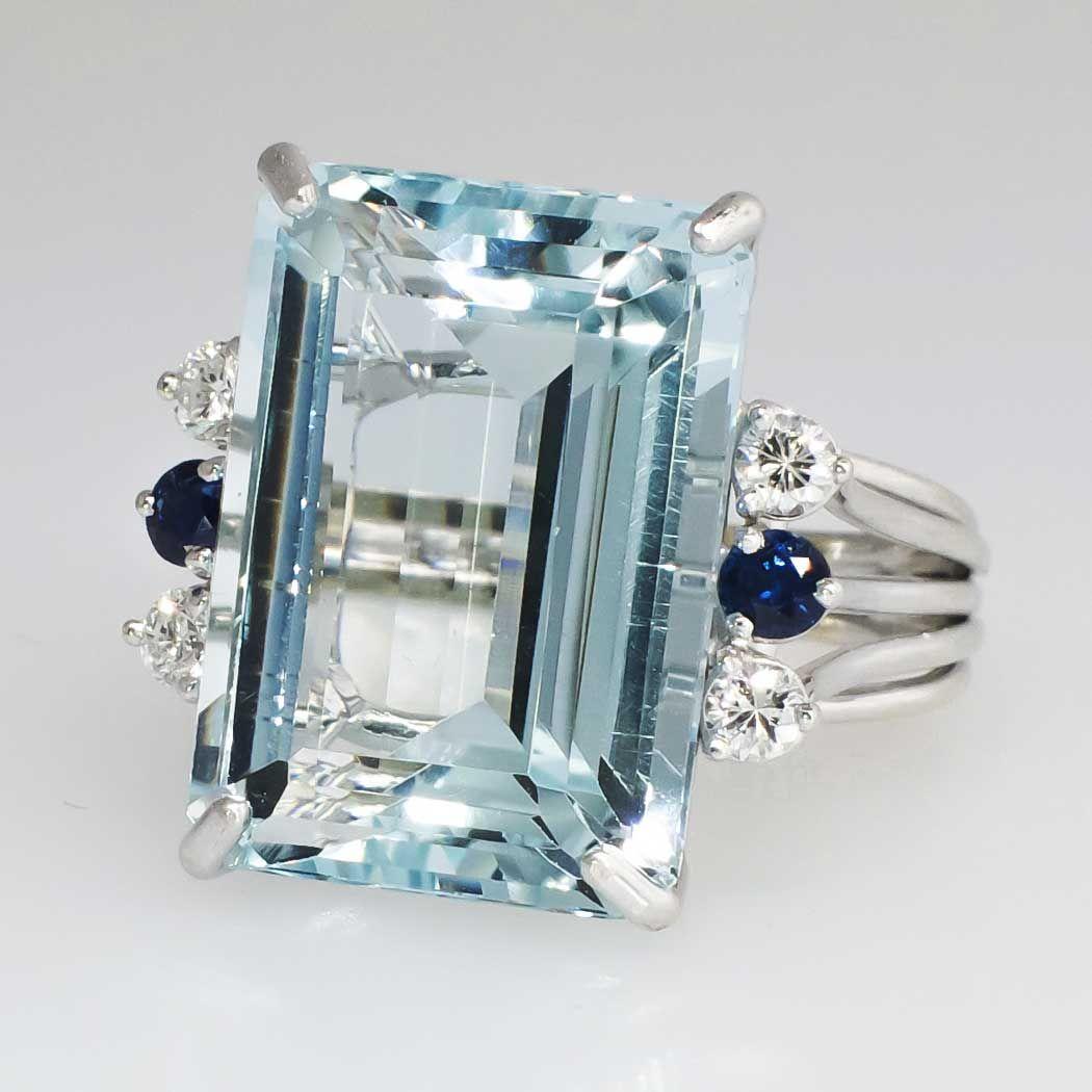 Huge 21.73ct t.w. 1980's Glorious Aquamarine, Diamond ...