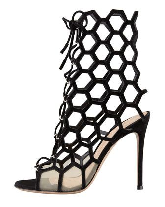 Gianvito Rossi Lace-Up Honeycomb Open-Toe Bootie   Resort 2014