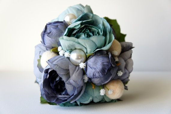 Blue Peony Bridal Bouquet, Silk Wedding Flowers, Vintage Wedding, Rustic Wedding, Shabby Chic Wedding, Bride, Pearls #bluepeonies