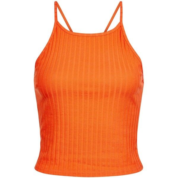 3bb355168b3 New Look Bright Orange Ribbed Crop Top ($8.43) ❤ liked on Polyvore  featuring tops, spicy orange, strappy crop top, spaghetti-strap top, orange  top, ...