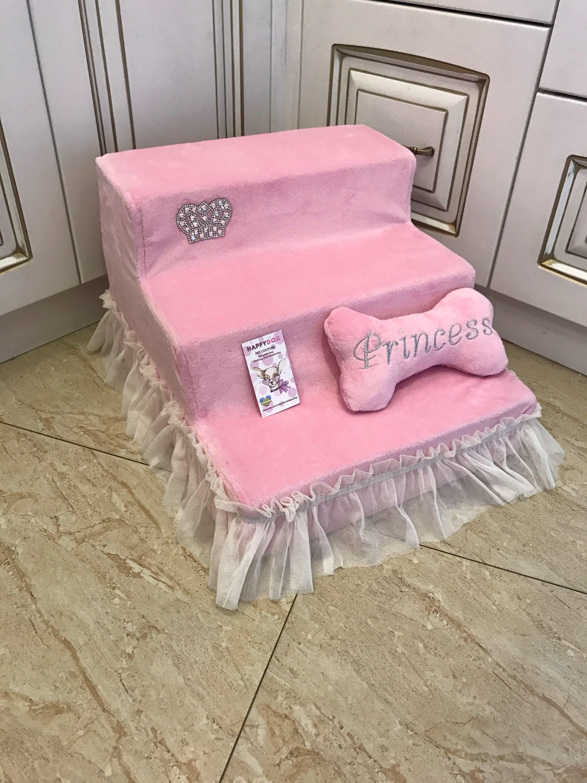 Ballerina pink pet stairs with sparkling crown Designer