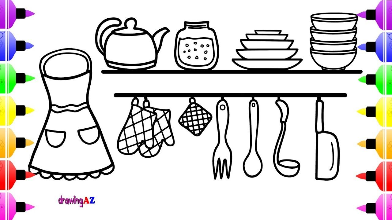 Kitchen Set Coloring Book for Kids & Art Cute Coloring Page for ...