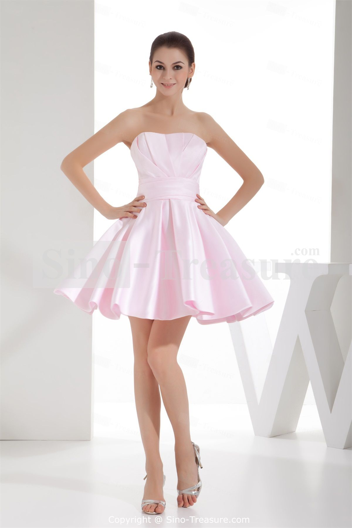 Pink Short Mini Satin Ruffles Soft Sweetheart A Line Bridesmaid Dress Whole Price