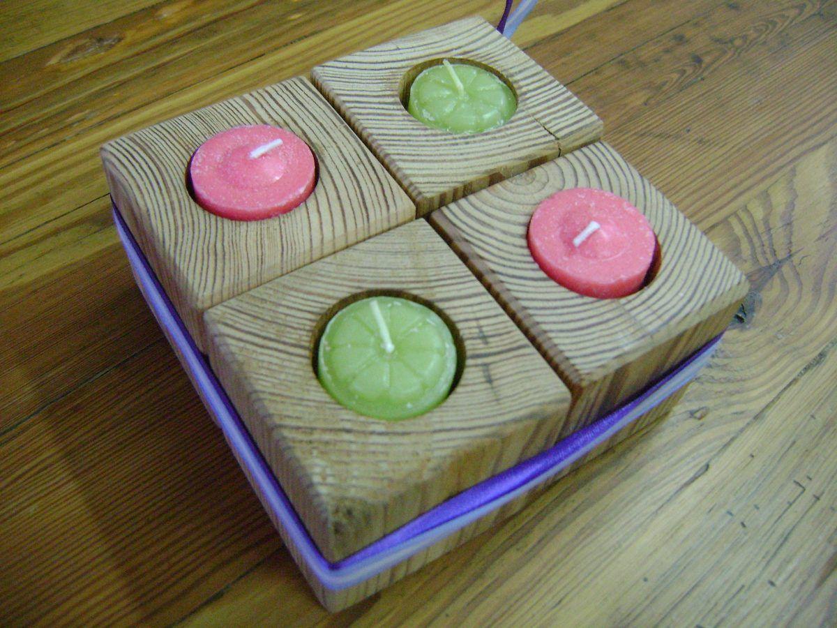 Porta velas cubos madera pinotea antigua adorno cenicero for Adornos navidenos mercadolibre