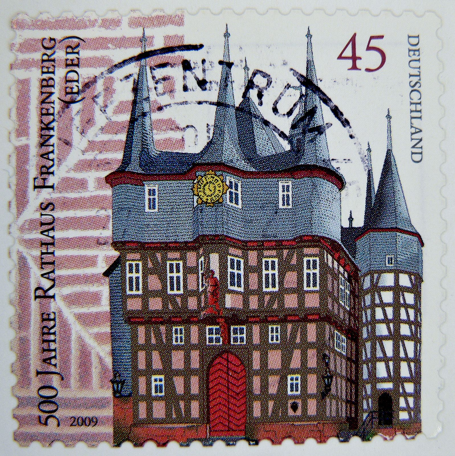great stamp Germany 45c 500th anniversary of City Hall Frankenberg (Fachwerk, timber framing, Maison à colombages) postes timbre allemagne sello alemania selo alemanha 德意志 Déyìzhì Германия スタンプ ドイツの ヨーロッパ postzegels duitsland franco porto bolli 45