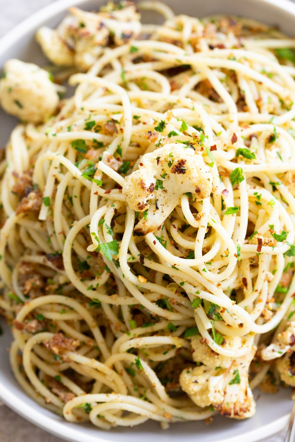Spaghetti With Toasted Garlic Breadcrumbs And Blistered