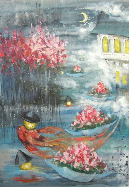 Купить Ночной дождь уходящего лета - интерьер, картина, подарок, сказка, волшебство, светлана аристова