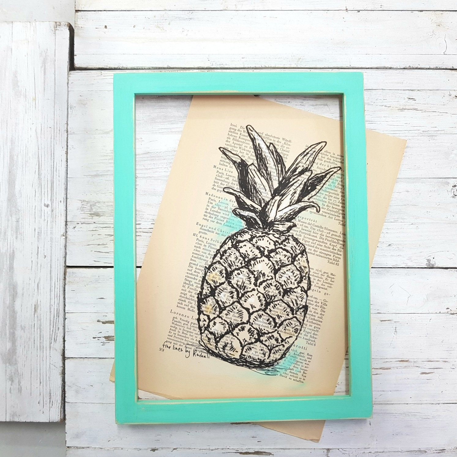 Pineapple Art, Dictionary Print, Pineapple Print, Book Art ...
