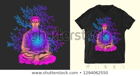 buddha in lotus pose print for tshirts and another