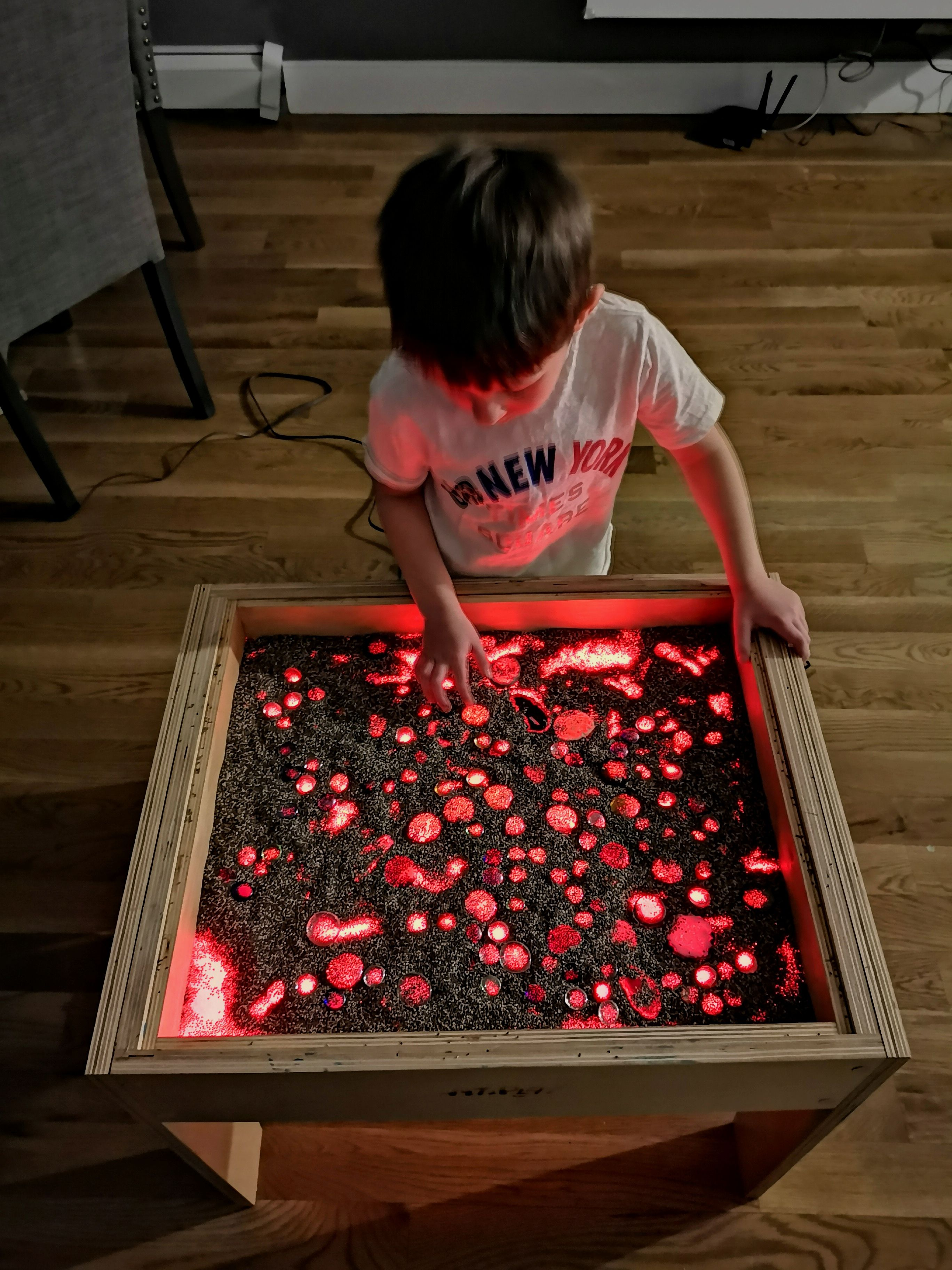 Sand Play with LED Red Backlight at our Art Light Activity