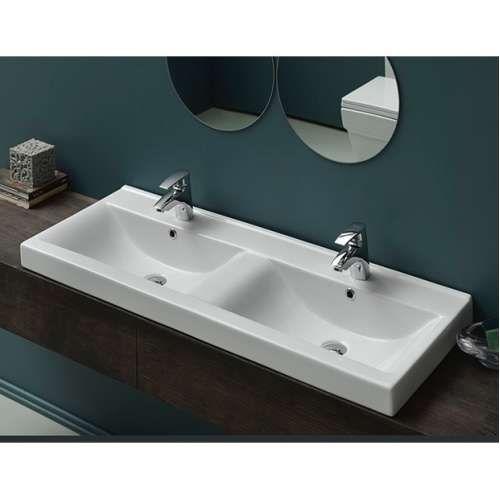 Cerastyle Mona Double Bathroom Sink Drop In Bathroom Sinks Wall