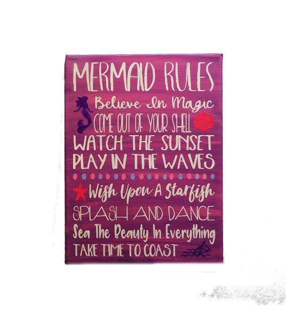 Mermaid Decor / Mermaid Sign / Mermaid Rules / Bathroom Decor / Girl's Room Sign / Nursery Decor / Mermaid Bathroom / Mermaid Art #mermaidsign Mermaid Decor / Mermaid Sign / Mermaid Rules / Bathroom Decor / Girl's Room Sign / Nursery Decor / Mermaid Bathroom / Mermaid Art ✨My turn around time varies but normally it takes 2-3 *business days* to make your sign and then ship. You will see my current processing times before checking out. Times increase when I get many orders✨ Cute Mermaid Rules #mermaidbathroomdecor