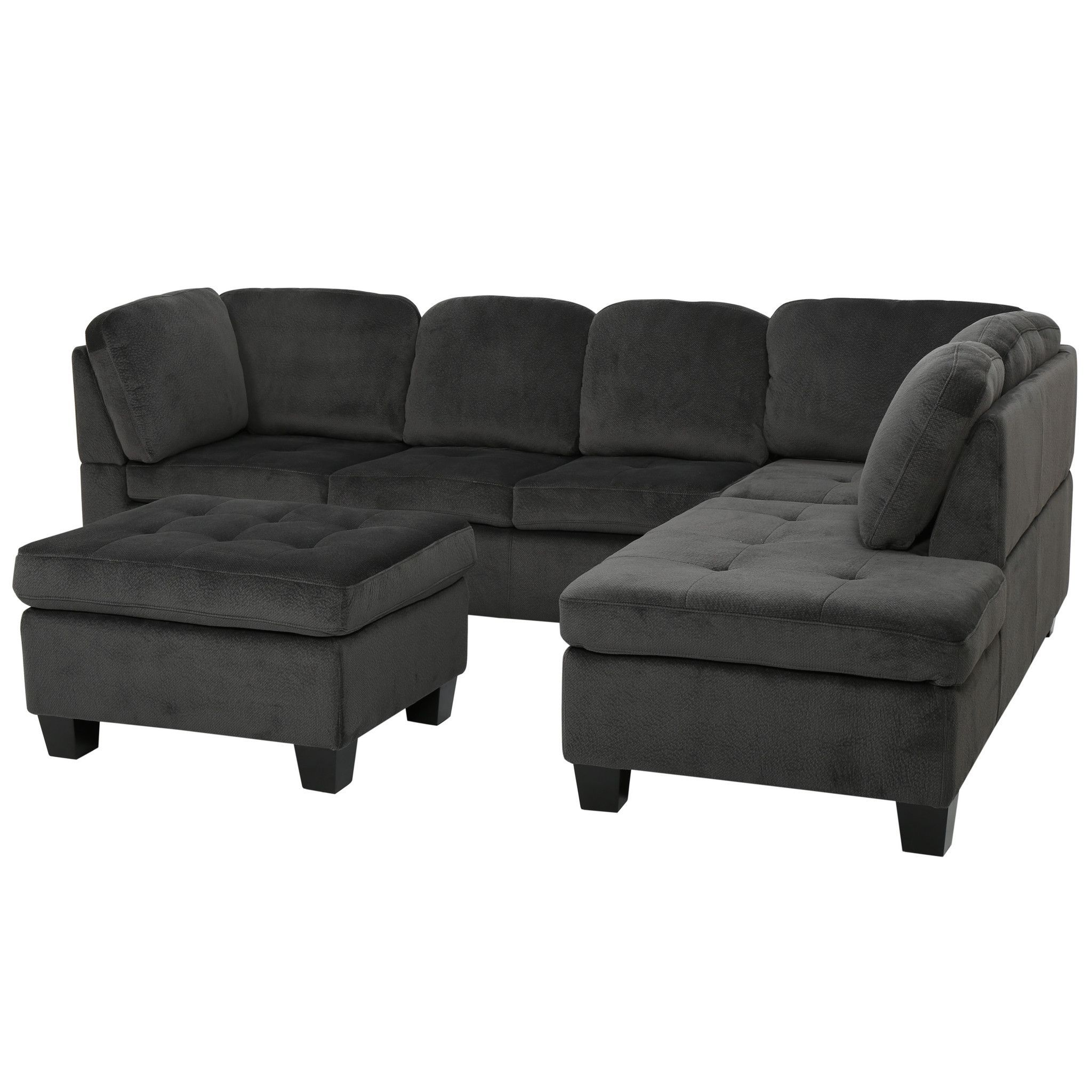 Best Gotham 3 Piece Charcoal Fabric Sectional Sofa Set 400 x 300