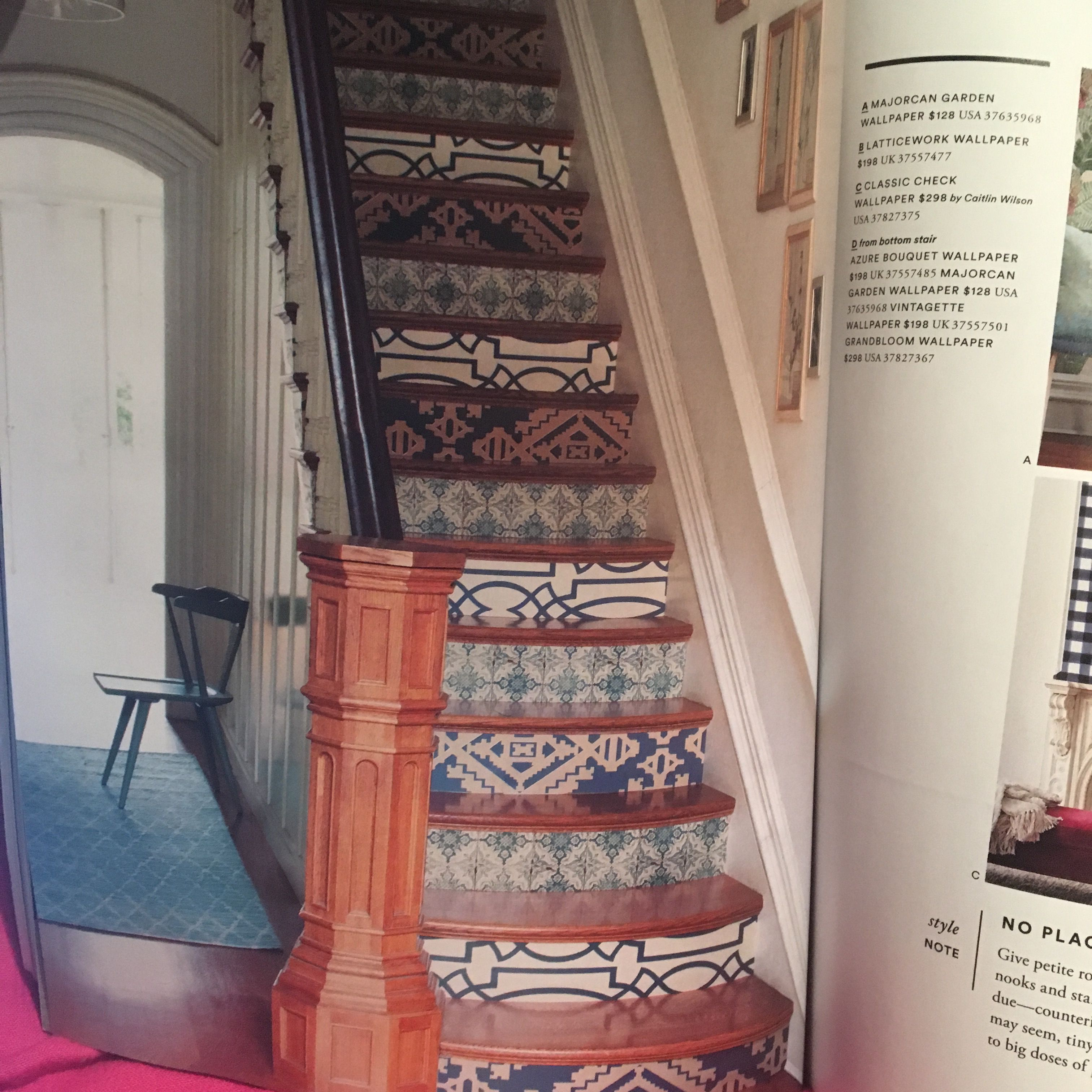 Staircase Idea Using Wallpaper From @anthropologie