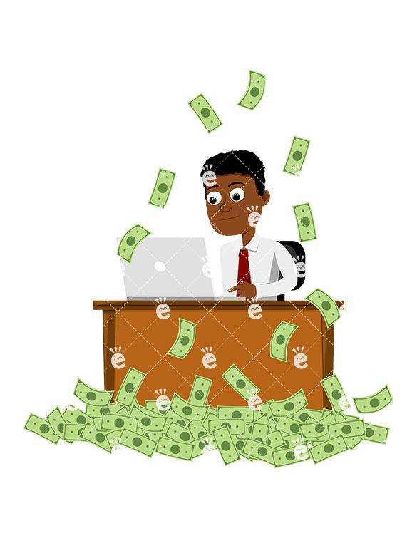 Black Man Working At The Office While Money Rain Down Vector Friendlystock Money Design Money Background Money Logo