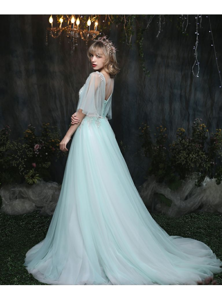 blue wedding dress at night\