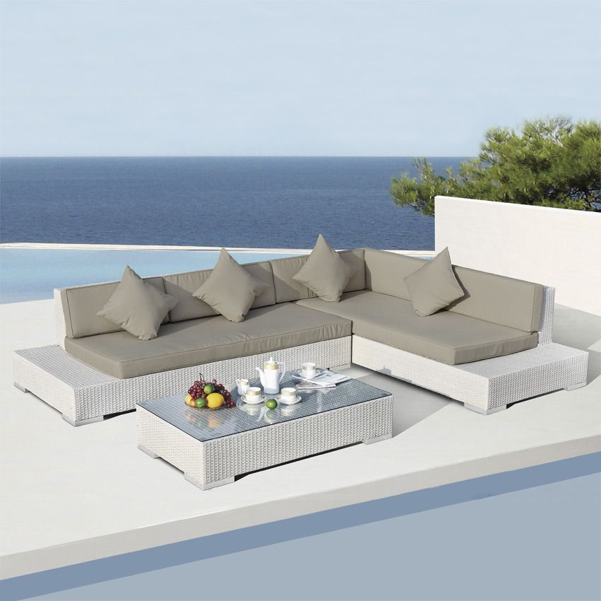 Salon de jardin Maldives Blanc/Taupe - 5 places | salon jardin ...