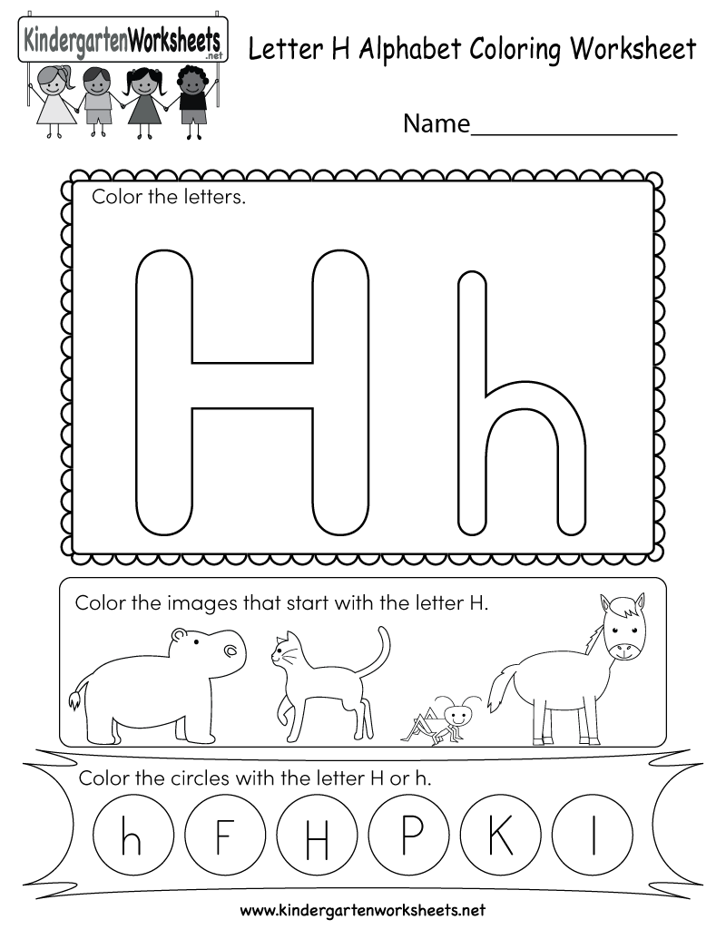 This Is A Letter H Coloring Worksheet Children Can Color The Letters And The Images That Letter H Worksheets English Worksheets For Kids Alphabet Kindergarten