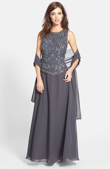 5fb486d9dc686 J Kara Embellished Chiffon Gown with Shawl (Regular & Petite) available at  #Nordstrom