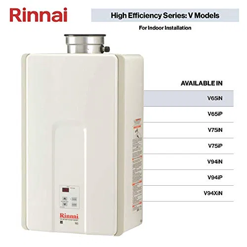 Rinnai V Series He Tankless Hot Water Heater Indoor Installation Watersbe Tankless Hot Water Heater Tankless Water Heater Hot Water Heater