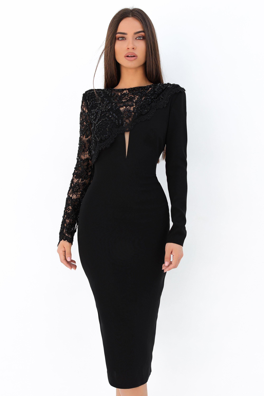 Tarik Ediz 93870 Beaded Lace Long Sleeve Fitted Dress Long Sleeve Fitted Dress Tarik Ediz Dresses Embellished Cocktail Dress [ 3000 x 2000 Pixel ]