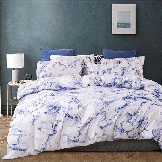 2020 New Luxury Ink Blue Marble Pattern Duvet Cover With Etsy Duvet Cover Pattern Marble Duvet Cover Black Duvet Cover