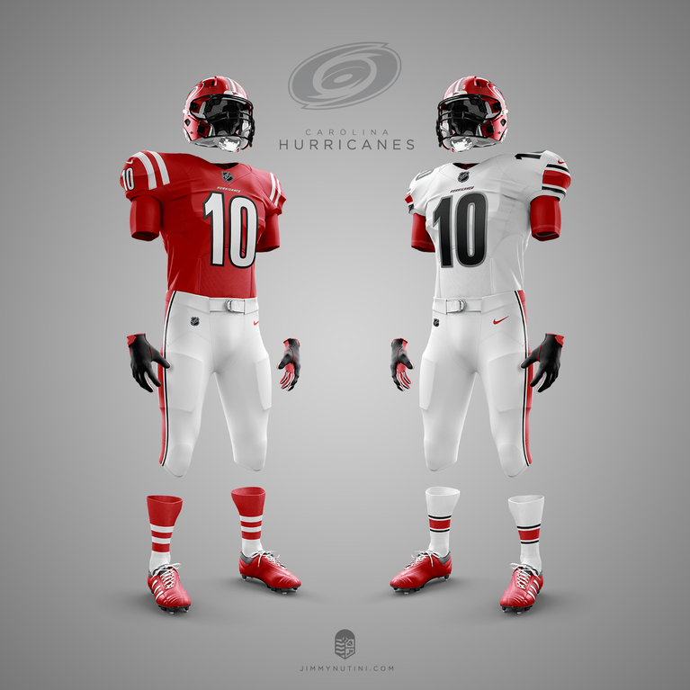 These NHL/NFL crossover uniforms are absolutely