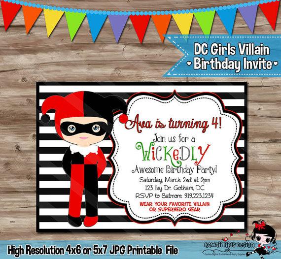 DC VILLAIN Girls Birthday Invitation Harley Quinn Invite Poison Ivy Batman Villains