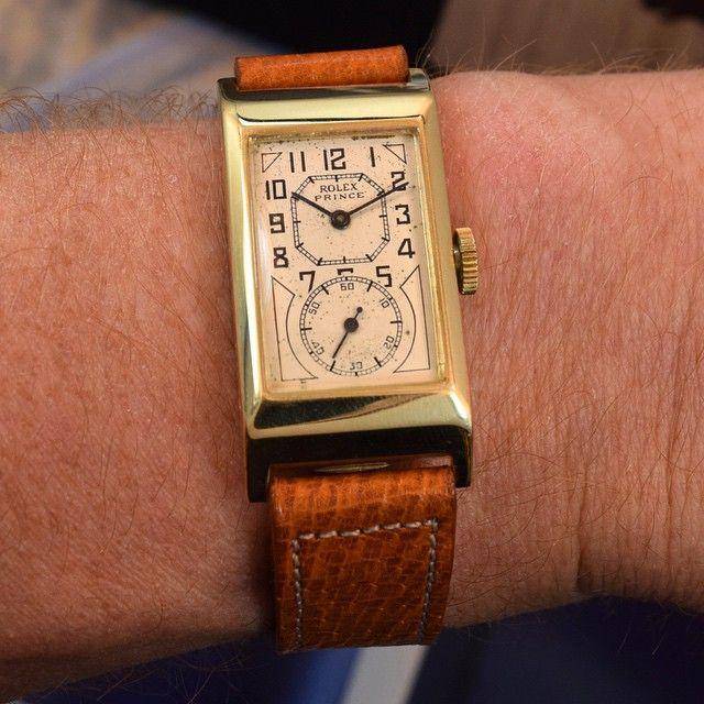 A 1935 vintage Rolex Prince Doctor Ref. 1343-A 14K Yellow Gold Art Deco Case watch with a silver, patinated dial and black arabic numbers. The Rolex Prince Classic (as the Ref. 1343, is often referred...