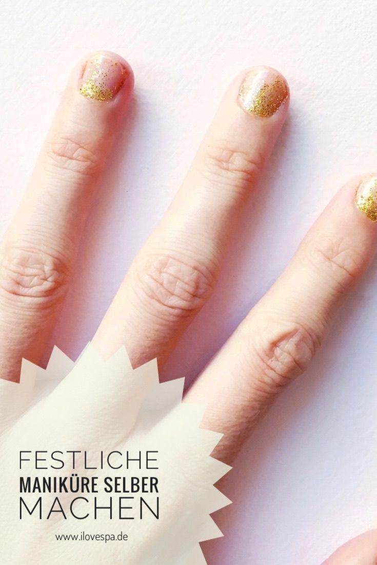 DIY Minimal Manicure festlich - schlichte Maniküre mit Gold