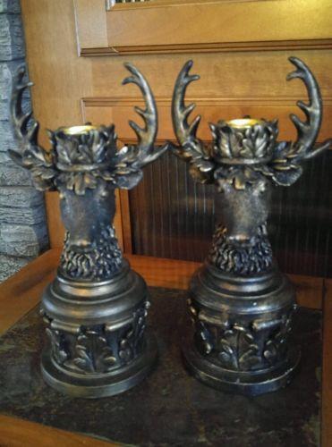 2 Heavy Stag Buck Deer Head Candle Holders Brown Bronze Looking Resin Euc Candle Holders Bronze Buck Deer