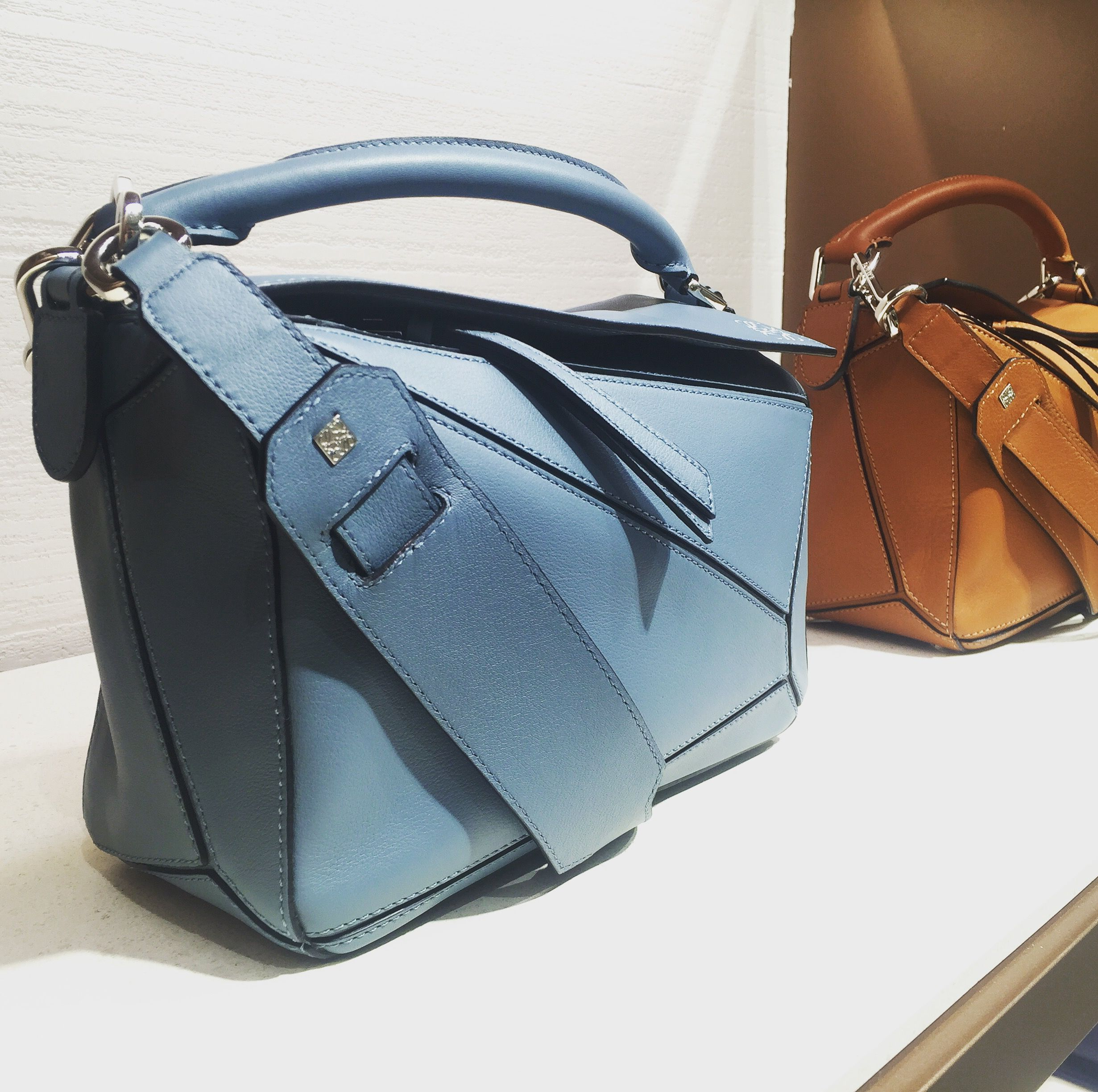 1e628eb854dc Loewe Puzzle Bag in Light Blue Leather with Silver Hardware