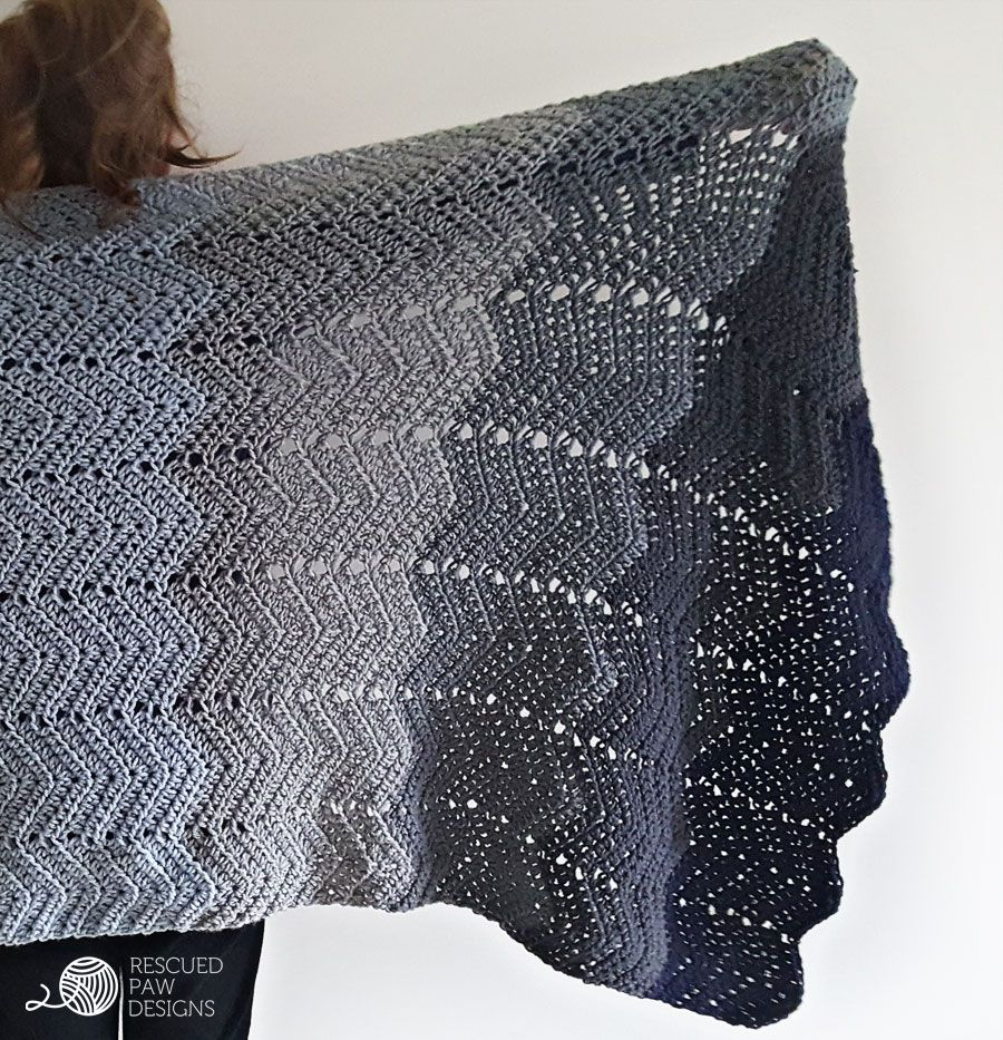 Ombre Ripple Crochet Blanket Pattern by Rescued Paw Designs ...