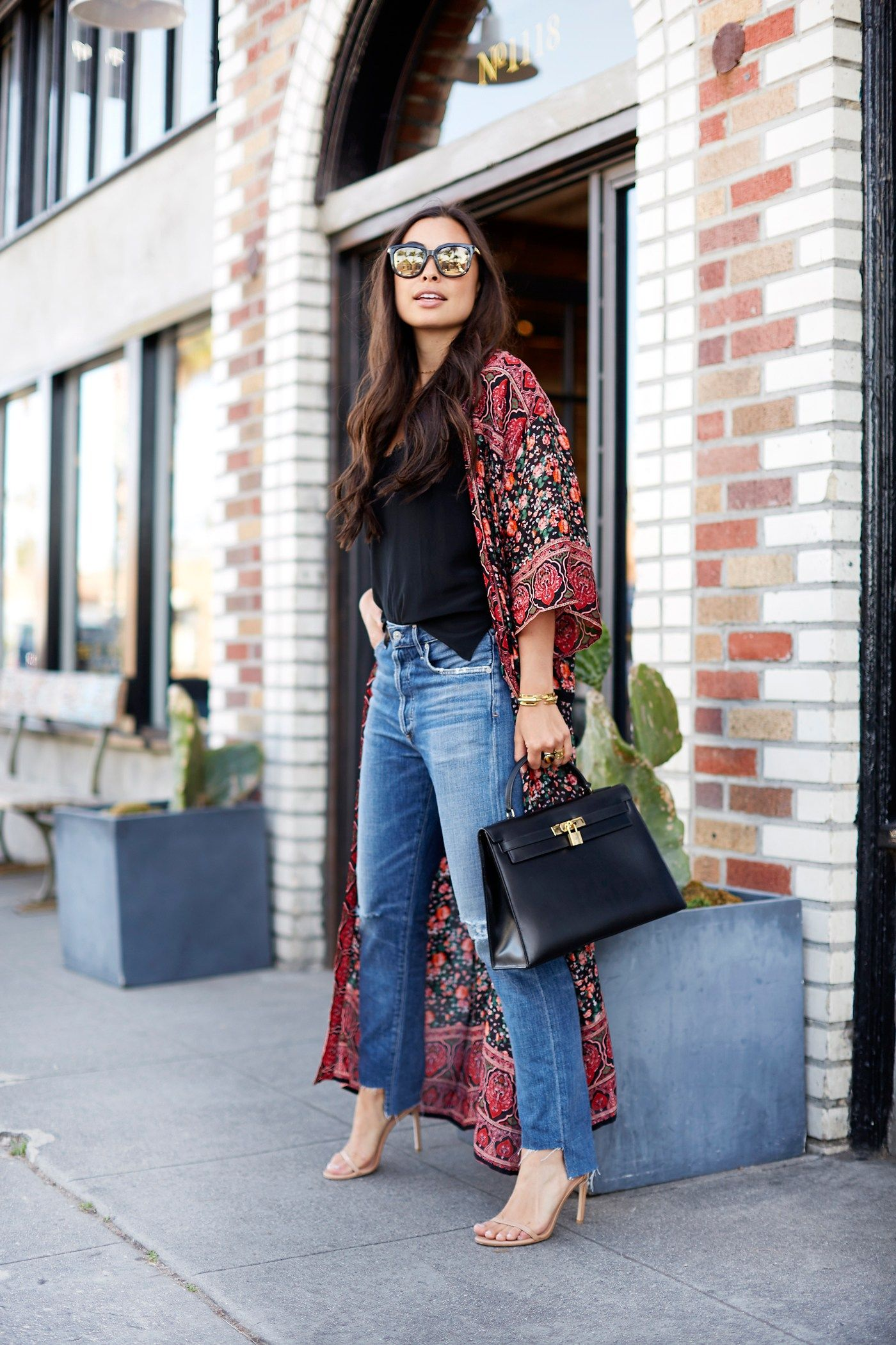 b3dfc2fd With Love From Kat // Kimono on Abbot Kinney. Black cami+cropped jeans+nude  ankle strap heeled sandals+floral long kimono+black handbag+sunglasses.