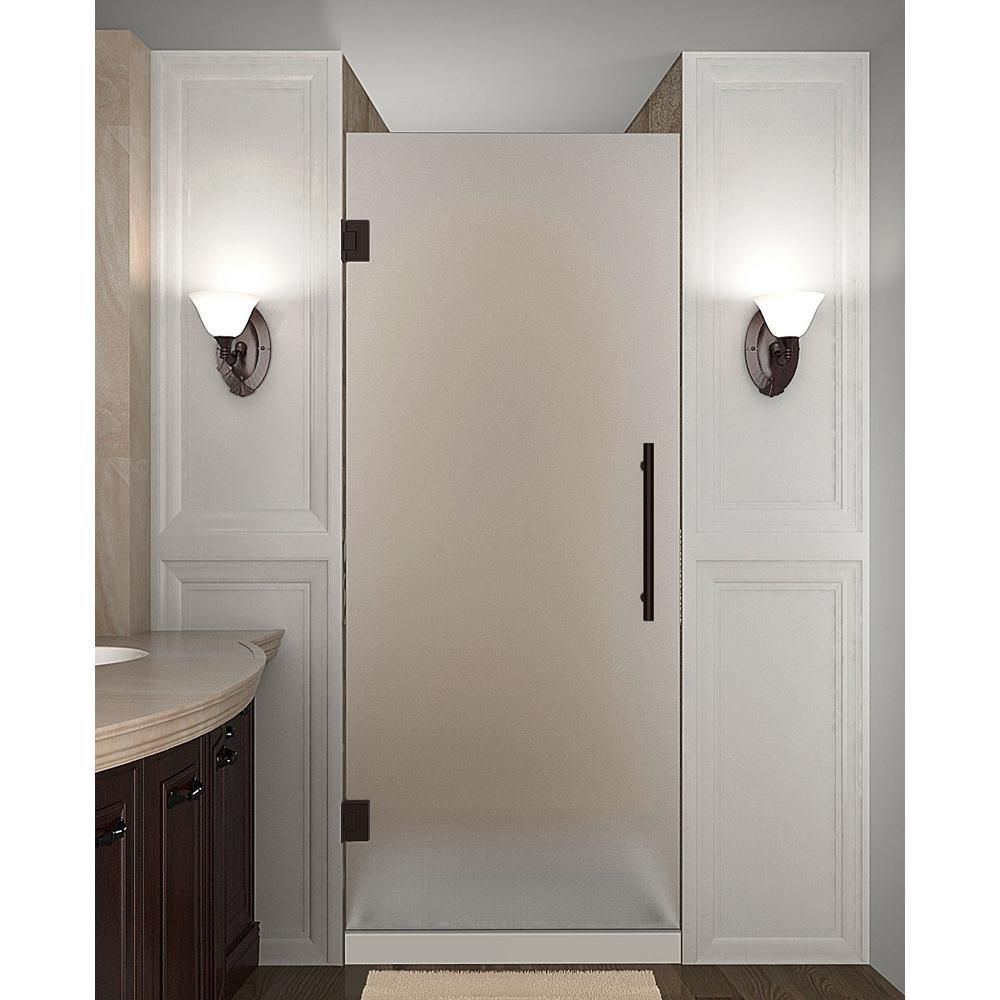 Aston Cascadia 25 75 26 25 In X 72 In Frameless Hinged Shower Door With Frosted Glass In New Bronze Shower Doors Frameless Shower Doors Glass Shower Doors