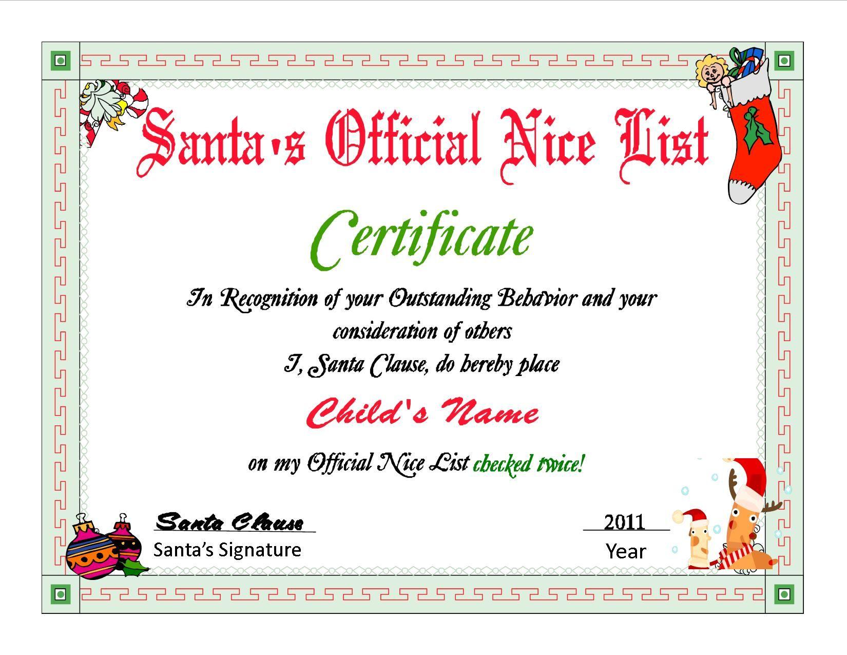 Santa nice list certificates santas nice list certificate santa nice list certificates santas nice list certificate yelopaper Images