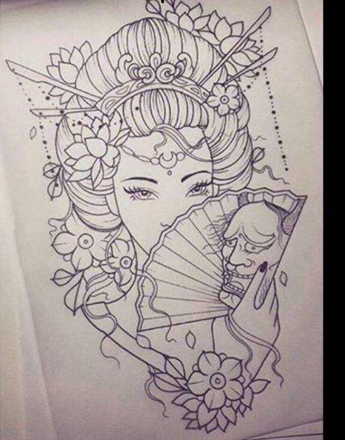 Geisha Geisha Japanische Tattoos Vorlagen Geisha Tattoo