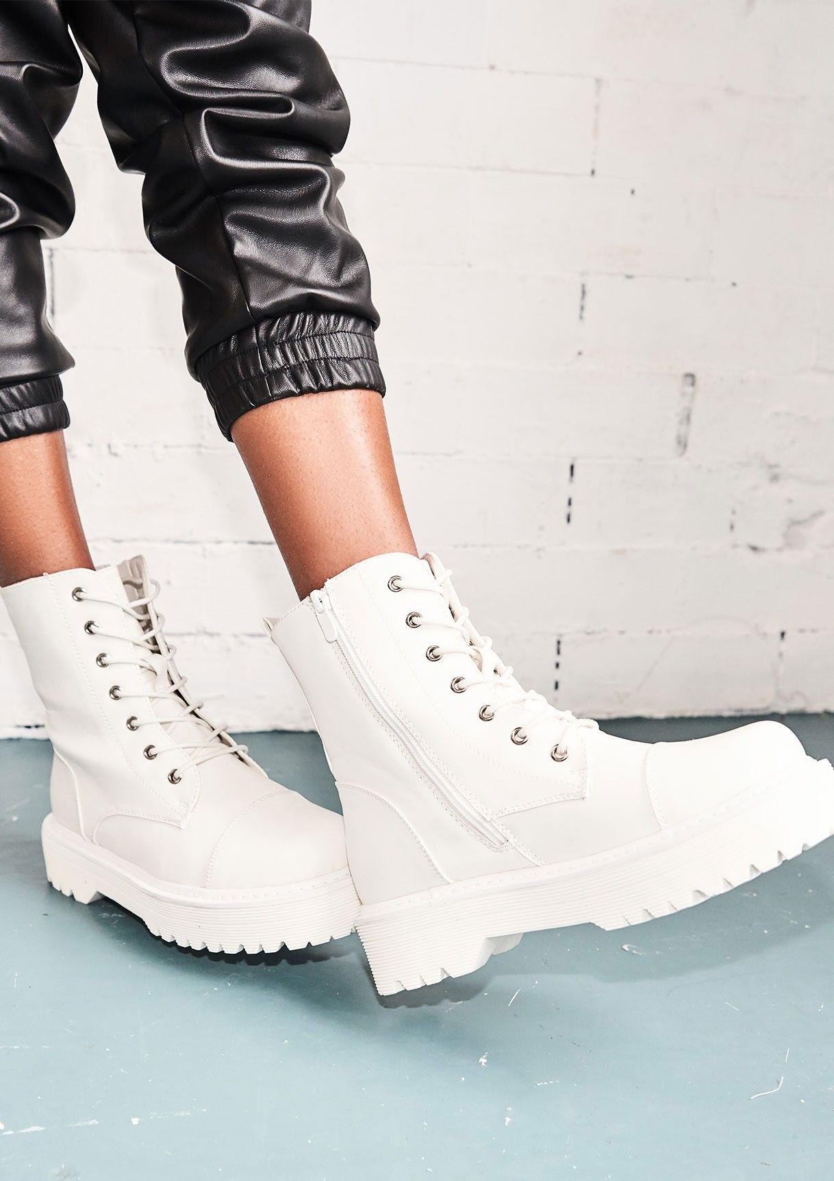 offer discounts on wholesale online store Tamia White Faux Leather Chunky Lace Up Boots in 2019 | Lace ...