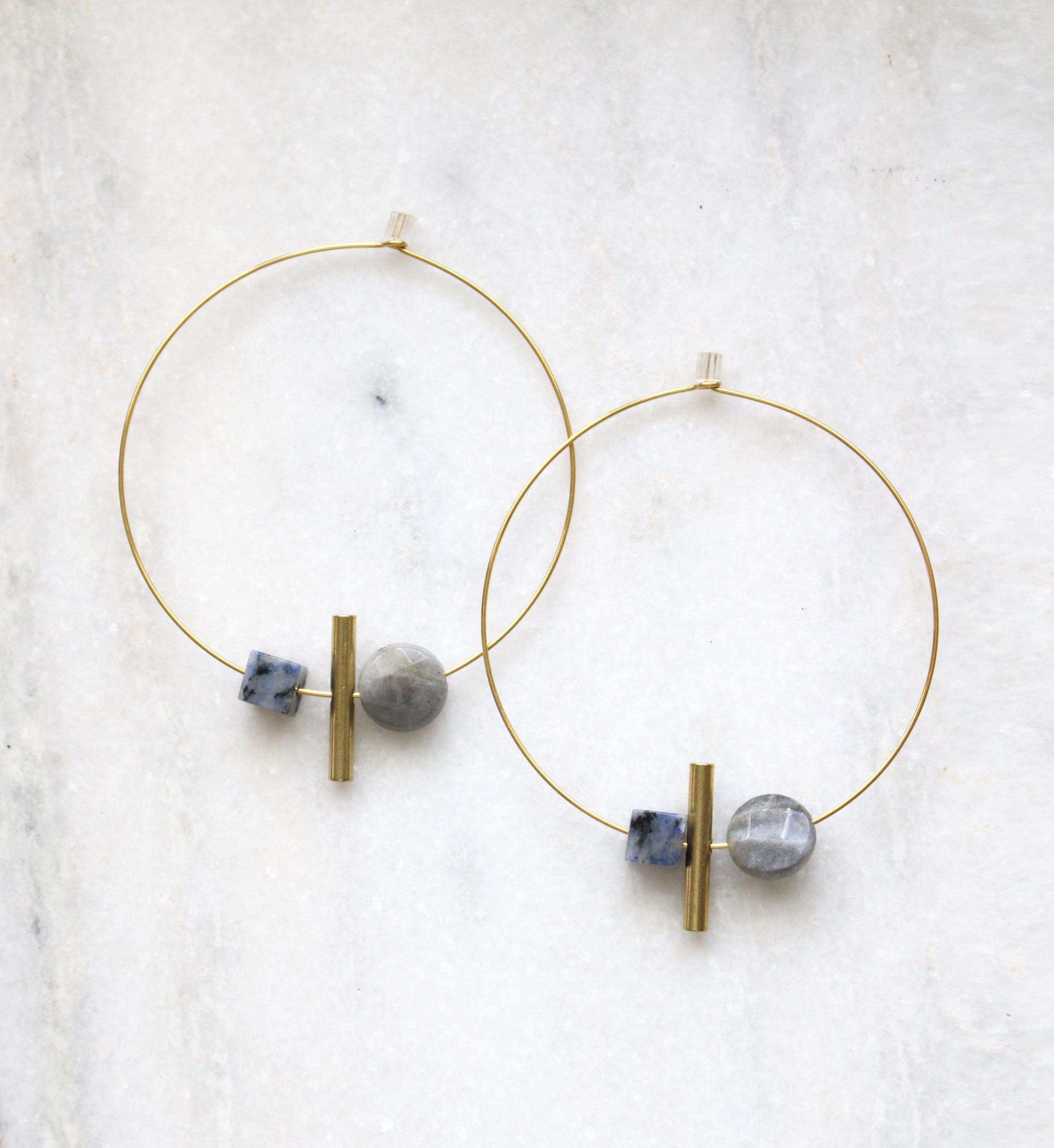 Earth Reverie Small Stone Hoop Earrings