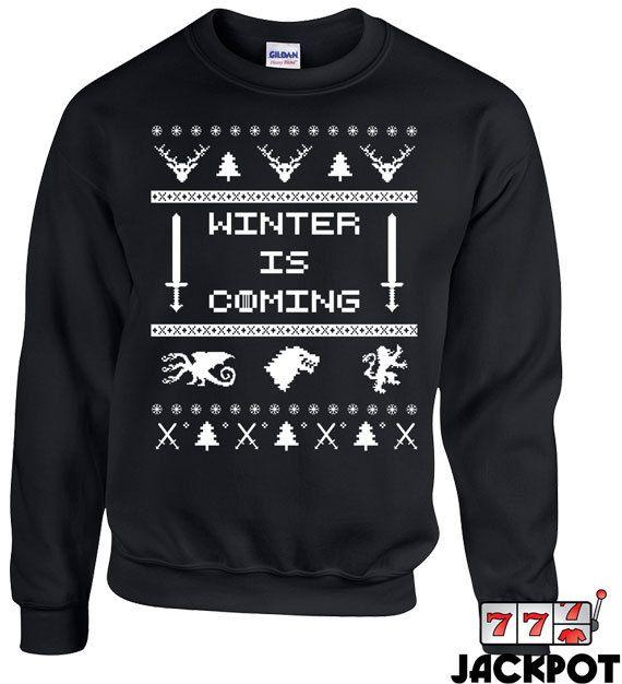 Game of Thrones Christmas Hoodie - Christmas is Coming Shirt - Direwolf Christmas - Jon Snow Christmas Sweatshirt - Winter is Coming - GoT 1HfEyWps