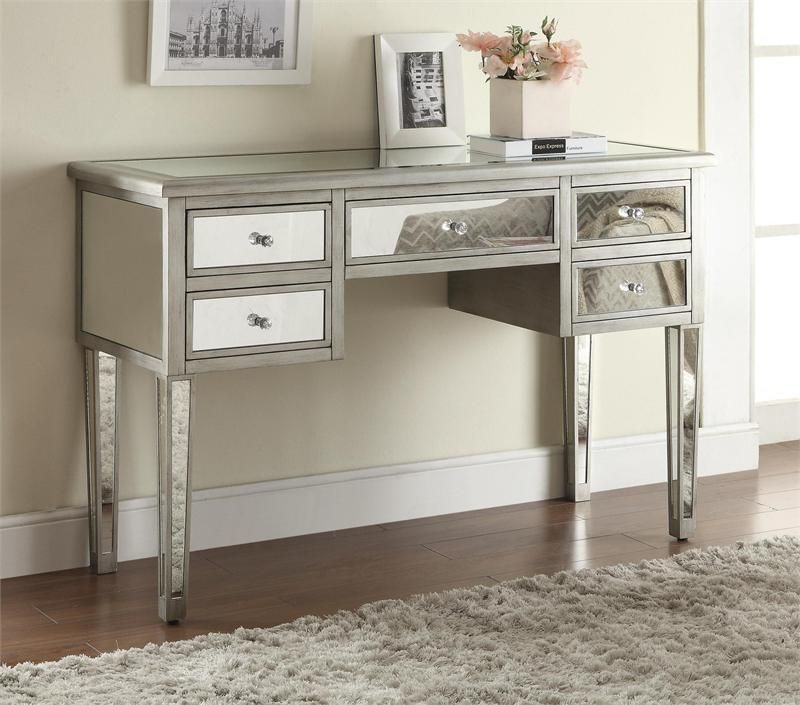 Marvelous Makeup Vanity No Mirror Part - 4: Lex Antique Silver Mirrored Dressing Table | Vanity No Mirror
