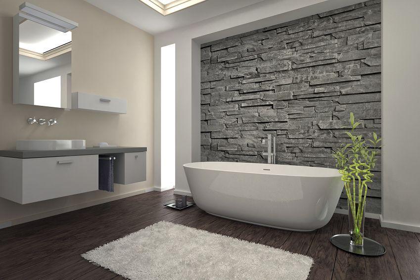 Naturmaterialien sorgen im Bad für wohnliches Flair. (Foto ...