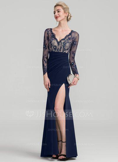 27020d4c [US$ 139.99] Sheath/Column V-neck Floor-Length Satin Evening Dress With Beading  Sequins (017116338)