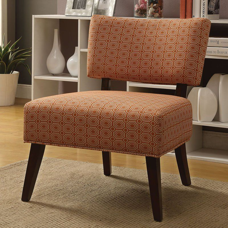 Acme furniture able accent chair orange fabric