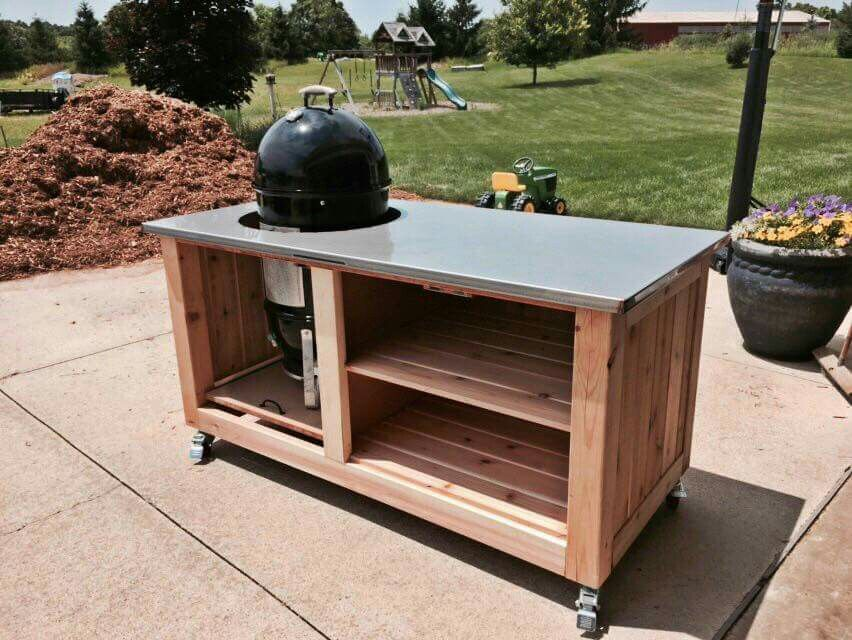 Wsm Table Outdoor Grill Station Wood Diy Outdoor Kitchen