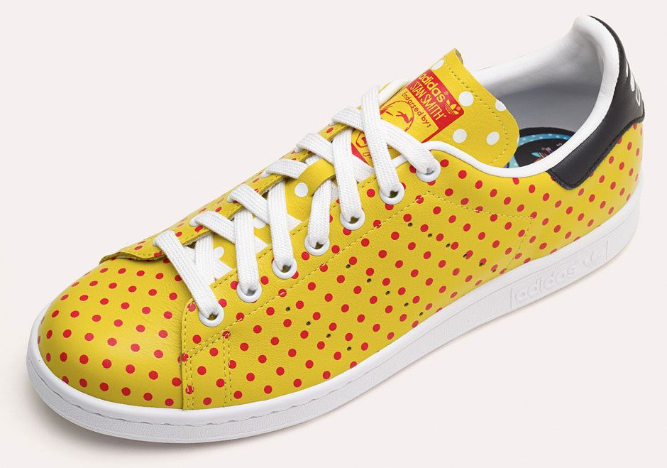 online store 3f20f 977d7 Adidas x Pharrell Williams - Yellow with Red Polka Dots Stan Smith Shoes