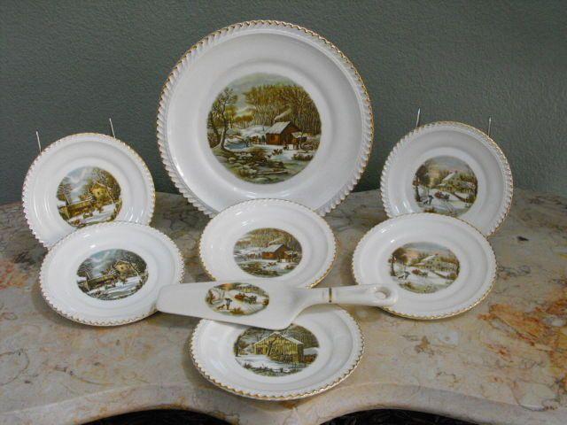 Harkerware 8 Piece Dessert Set - Currier & Ives Vintage   Beautiful ...
