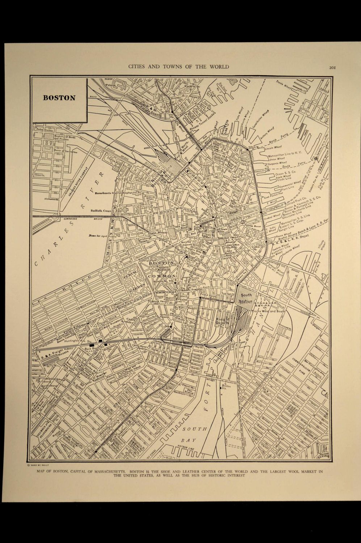 Map Boston Street Vintage Massachusetts 1930s Original 1934 Vintage Map Antique Map Map